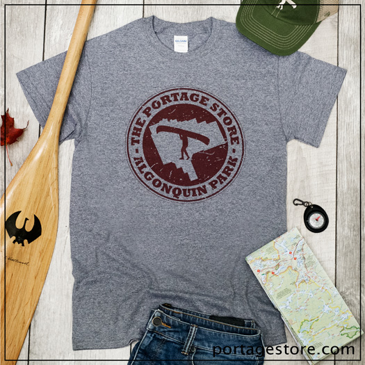 Adult: Portage Store Circle- Heather Grey/Burgundy Ink