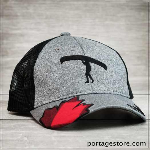 "Adult: Mesh Back Portage Man Cap with Plaid Leaf & ""Canada"" on Brim - Grey/Black"