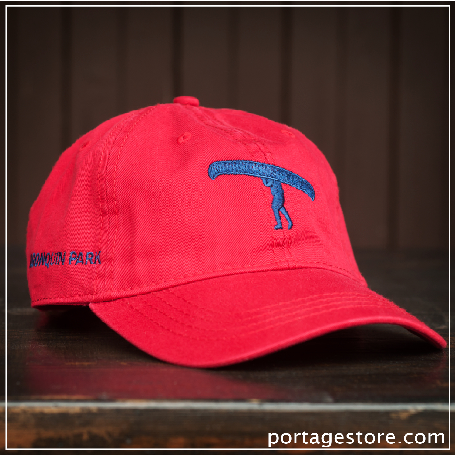 Adult: Red with Blue Portage Man Cap