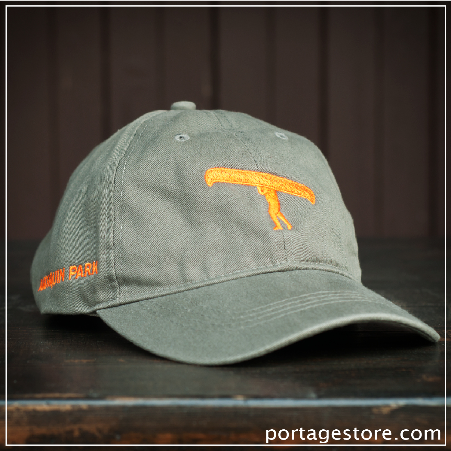 Adult: Olive Green with Orange Portage Man Cap