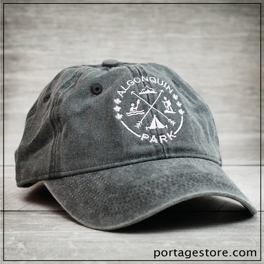 Adult: Crossed Arrows with Algonquin Icons Ball Cap - Grey/White