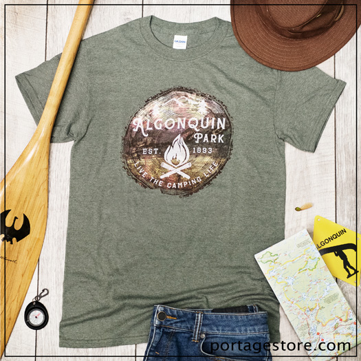 Adult: Live the Camping Life-Tree Stump-Heather Green
