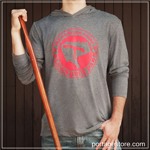 Adult: Portage Store Logo Long Sleeve with Hoody - Red on Grey
