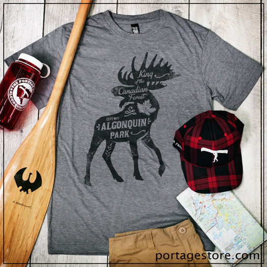 Adult: Moose with Vintage Writing - Black on Heather Grey