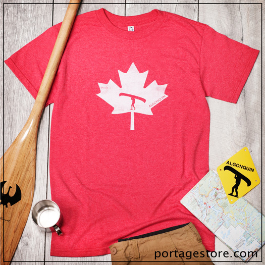 Adult: Portage Man in Maple Leaf - Off White on Red