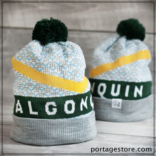 Adult: Algonquin Toque - Green/White/Grey/Yellow/Blue