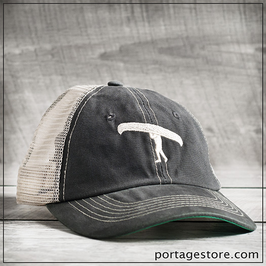 Adult: Portage Man Cap with Mesh Back - Grey/Cream Thread