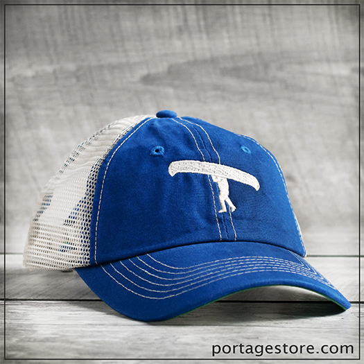 Adult: Portage Man Cap with Mesh Back - Royal Blue/Cream Thread