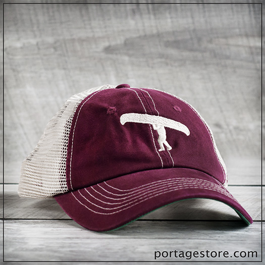 Adult: Portage Man Cap with Mesh Back - Burgundy/Cream Thread