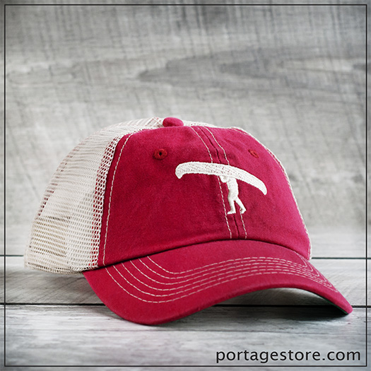 Adult: Portage Man Cap with Mesh Back - Red/Cream Thread