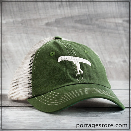 Adult: Portage Man Cap with Mesh Back - Army Green/Cream Thread