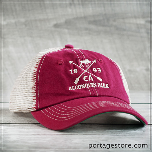 Adult: Cross Arrow Design Cap with Mesh Back - Red/Cream Thread