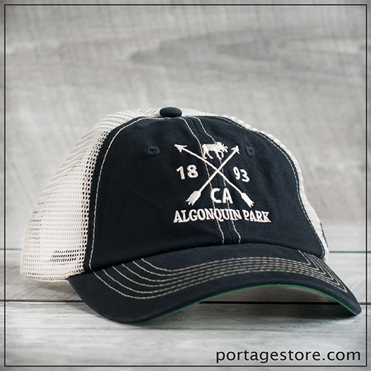 Adult: Cross Arrow Design Cap with Mesh Back - Back/Cream Thread