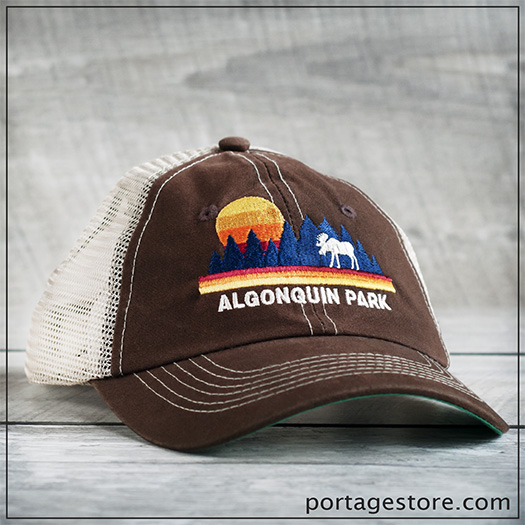 Adult: Algonquin Park Sunset Moose Cap with Mesh Back - Brown